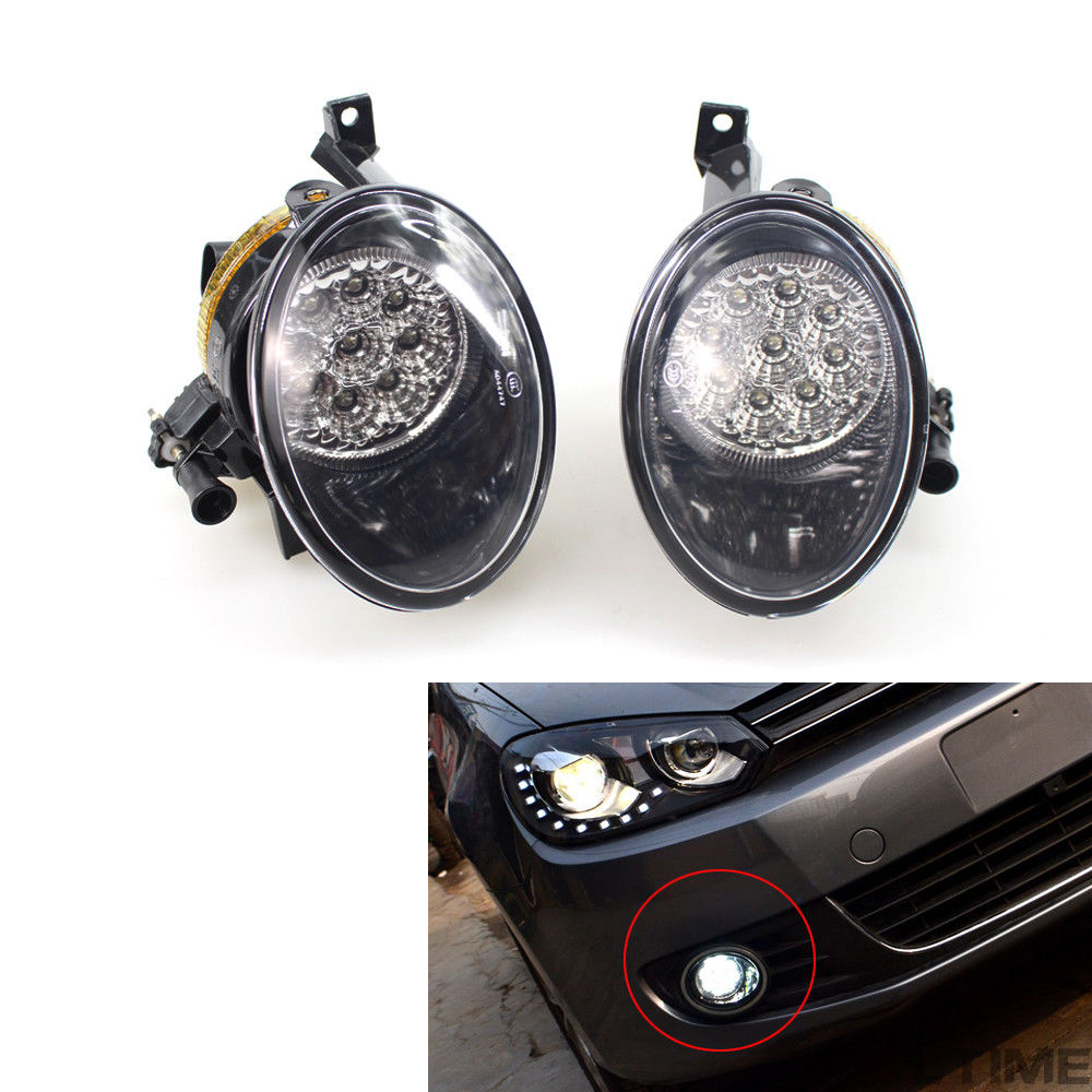 Golf MK6 Front Lower Clean LED Fog Light Lamp Right+Left Fit For VW Jetta Plus Eos Caddy Tiguan Touran 5K0 941 699 5K0 941 700 tuke oem right front bumper fog lights for vw caddy jetta 6 golf mk6 eos touran tiguan 5kd 941 700 5k0 941 700 5kd941700