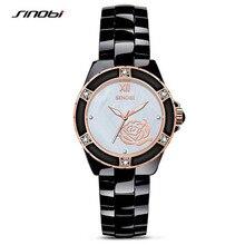 2016 Moda Mujeres Del Reloj SINOB Reloj Casual Señoras del Reloj de Cuarzo Reloj de Cerámica de Flores de Diamantes de Lujo Del Relogio Feminino 8118