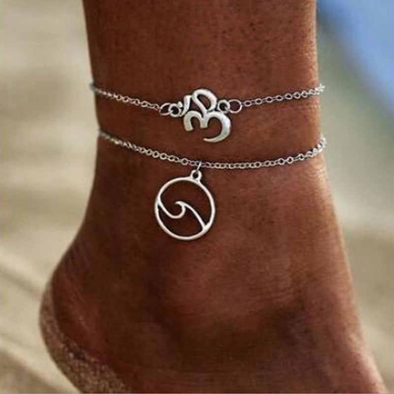 ハート女性アンクレット素足かぎ針編みサンダルフットジュエリー脚新アンクレット足足首のブレスレット女性のための