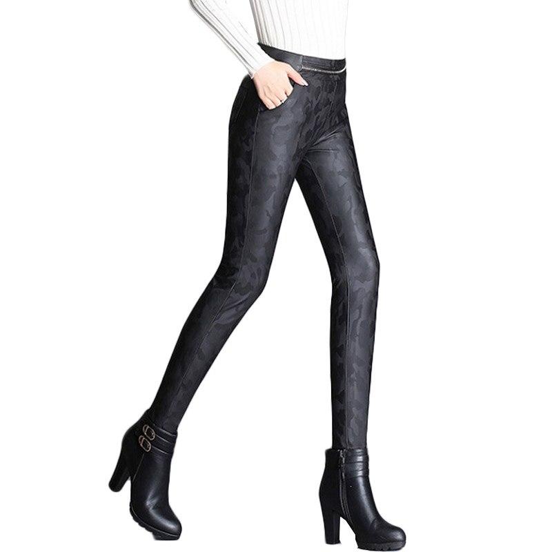 Cuero Faux Xinzhe 2018 Flacos N Cintura Pantalones Camuflaje Elástico Alta Pu Estiramiento Mujeres Negro 5EqUSxdwSv