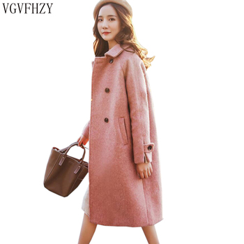 2018 Autumn Winter Women Vintage Woolen Coat Long Section Comfortable Woolen Coat Solid Color Double Breasted Woolen Jacket
