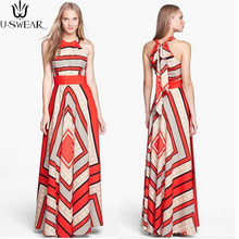 U-SWEAR Summer Women Dress Fashion Sexy Sleeveless Print Halter Chiffon Dress Large Size dress ceremony for women(China)