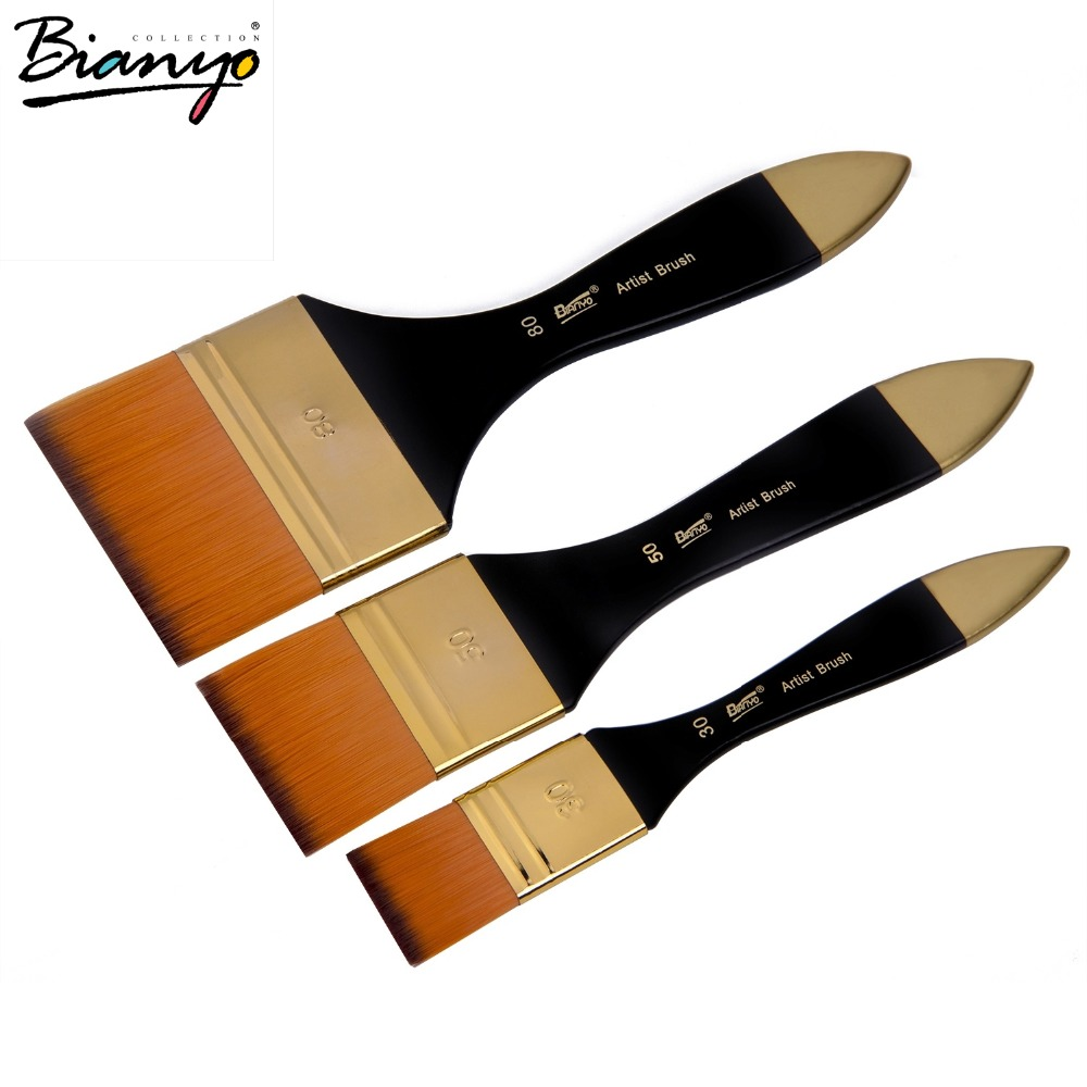 Bianyo Artist Nylon Flat Paint Brush 1 3 Inch Oil Brush