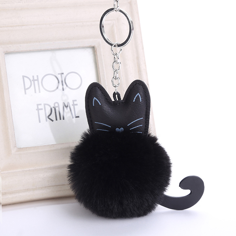 Cat Keychain Pompon Key chain Fluffy Artificial Rabbit Fur Ball Key Rings Women Bag Car Charm Pendant pom pom holder Porte clef