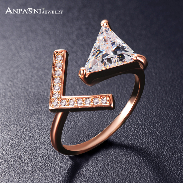 ANFASNI Dropshiping Trendy Two Colors Adjustable Micro Pave Rings Triangle CZ St
