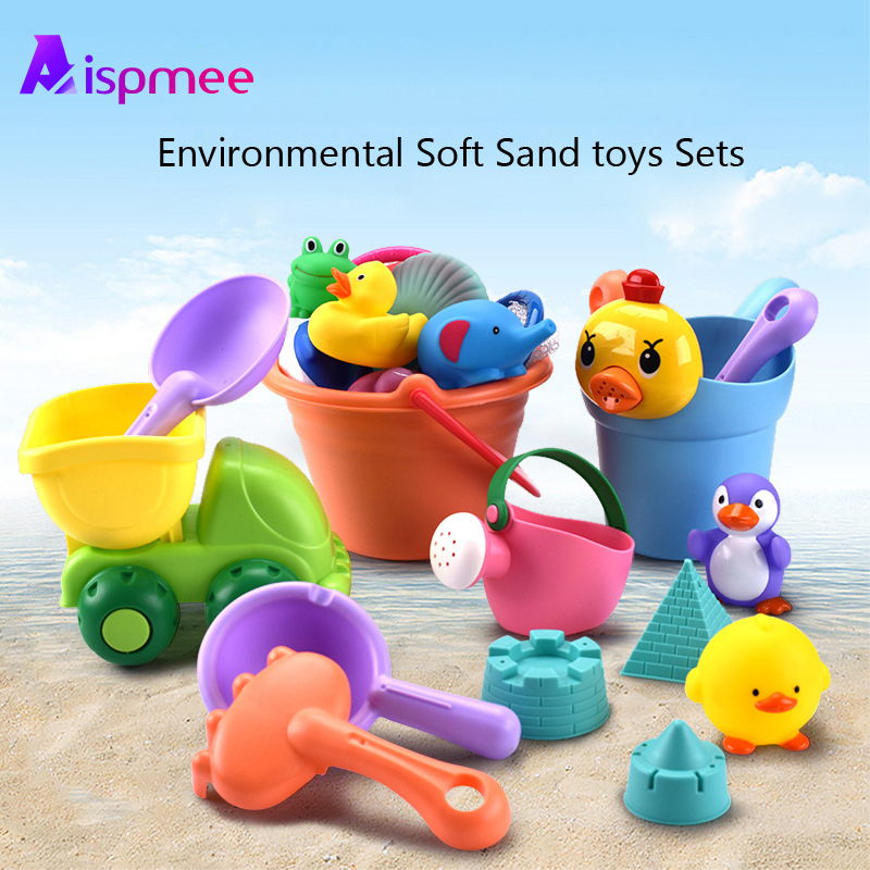 Aispmee 12pcs/lot Beach Toys Set Soft Rubber  Sand Toys For Children Bucket Playset Fun Toys For Kids Summer Outdoor Drop Ship
