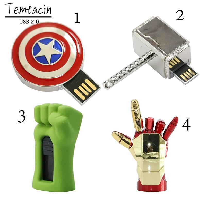 Avengers USB Flash Drive 4G Iron Man 8G Pen Drive 16G Captain America 32G USB Stick Hulk Thor PenDrive U Disk USB Drive