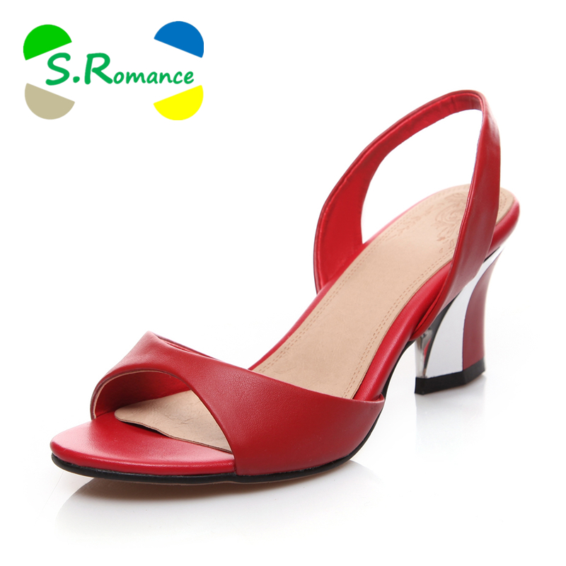S.Romance Women Sandals Genuine Leather Plus Sizes 34 43 New Fashion Slip On Pumps Woman Shoes Sandals Black Red White SS255-in High Heels from Shoes    1