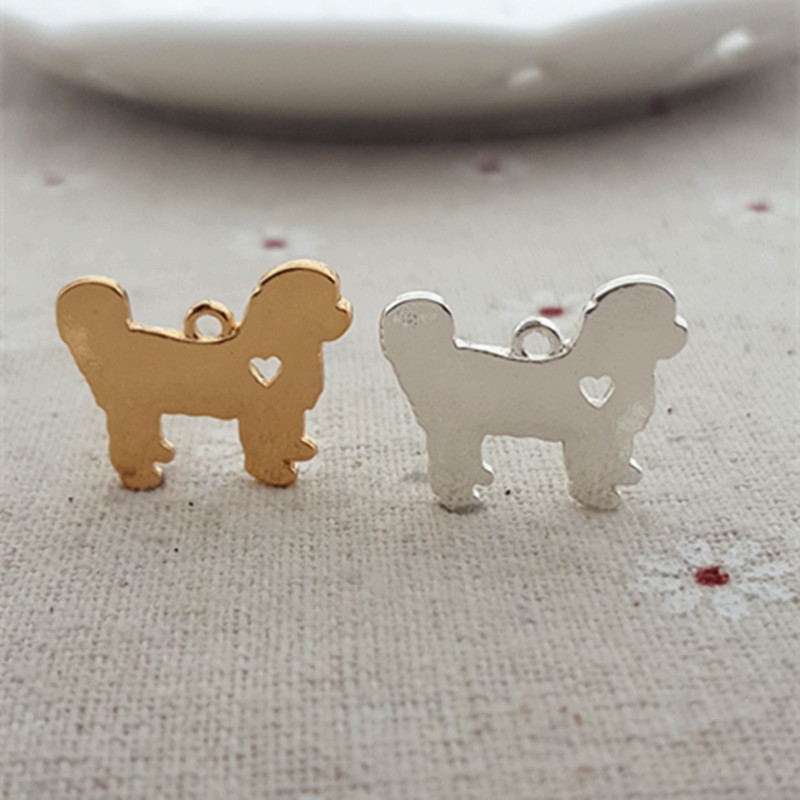 High Quality 10 Pieces/Lot 12mm*18mm Gold and Silver Color poodle dog Charms Animal charms For Jewelry Making