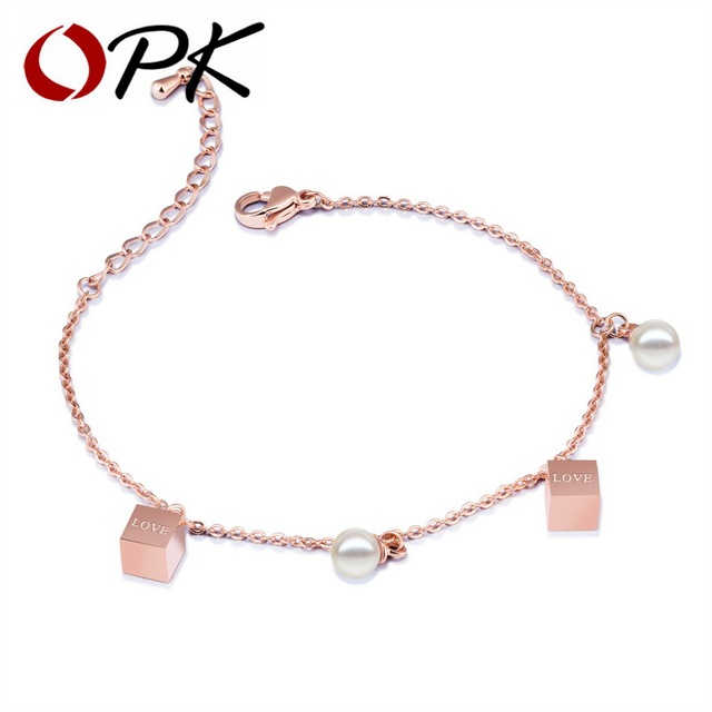 Opk Cute Charm Bracelets For Simulated Pearl Love Letter Cube Charms Rose Gold Color