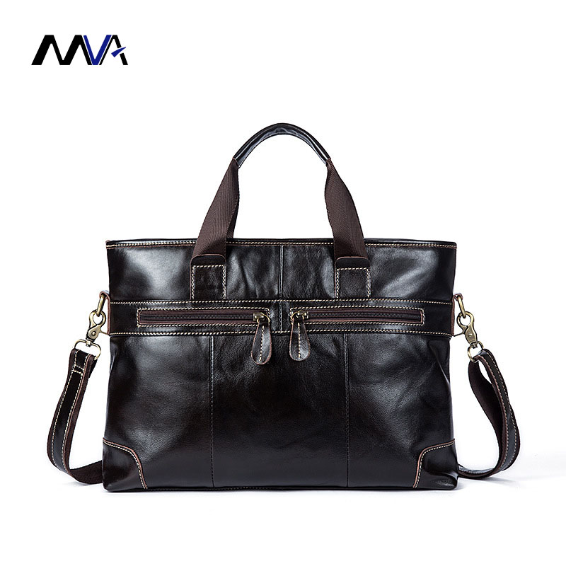 MVA Men Genuine Leather Briefcase 14 Inch Men's Business Laptop Bag Man Crossbody Shoulder Handbag Cow Leather Men Bags mva genuine leather men bags new man briefcase laptop handbag messenger bag men s business bags male crossbody handbags
