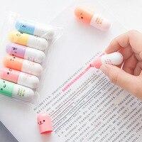 6 teile/los Kapseln Highlighter Vitamin Pille Highlight Marker Farbe Stifte Schreibwaren Büro Schule Liefert