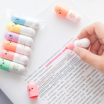 6 Pcs/lot Capsules Highlighter Vitamin Pill Highlight Marker Color Pens Stationery Office School Supplies