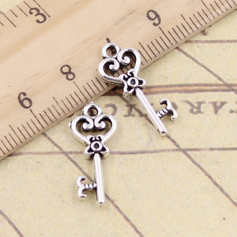 50pcs Vintage Silver Key Lock Charms Pendant for DIY Jewelry Making Crafts 23209