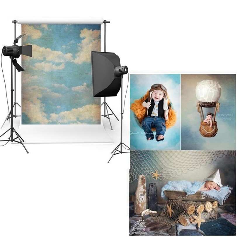 Blue Sky White Clouds Scene photo studio background Vinyl cloth High quality Computer print children kids backdrop