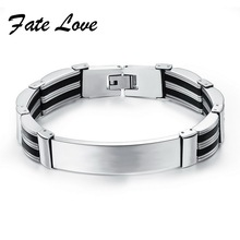 Promotion 13MM Width Stainless Steel Black & Silver Silicone ID Bracelet Wristband  8.07Inch Man Jewelry Cheap Price HD936