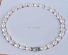Big 11-13MM Genuine white cultured pearl necklace Magnet Clasp 18″ No box