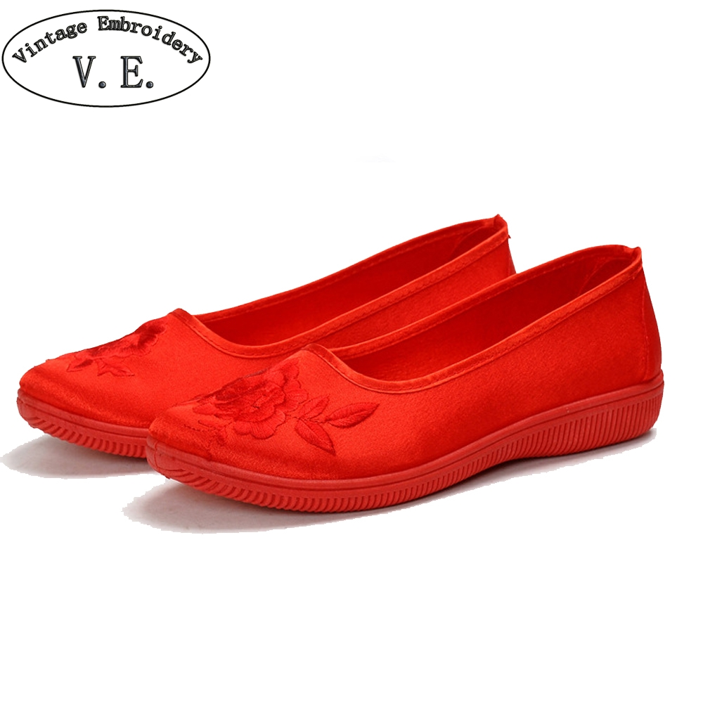 Vintage Embroidery Women Flat Shoes Chinese Bride's Retro Wedding Shoes Slip On Flower Printed Canvas Shoes Woman Ballets Flats stitching canvas embroidery flat shoes
