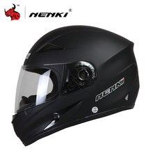 NENKI Мото шлем черный мотоцикл полный Уход за кожей лица Ретро Скутер Шлемы мотоцикл езда Гонки шлем щит Для Мужчин's мотокросс шлем