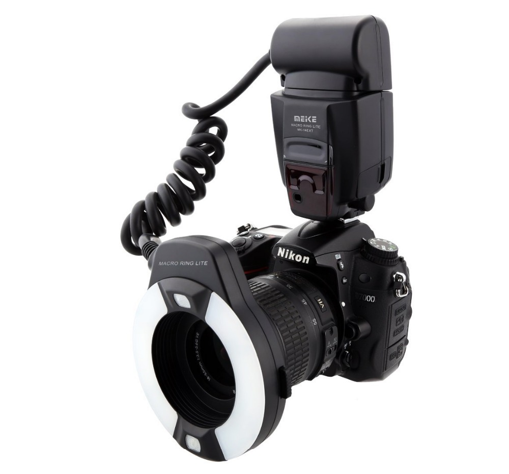 Meike MK-14EXTN Macro TTL Ring Flash for Nikon i-TTL with LED AF assist lamp D7100 D7000 D5100 D5000 D750 D800 D600 D300s D90 skyblue mk 14ext 2 0 lcd 9w 5500k 5500lm led profession ttl macro ring flash light for nikon dslr