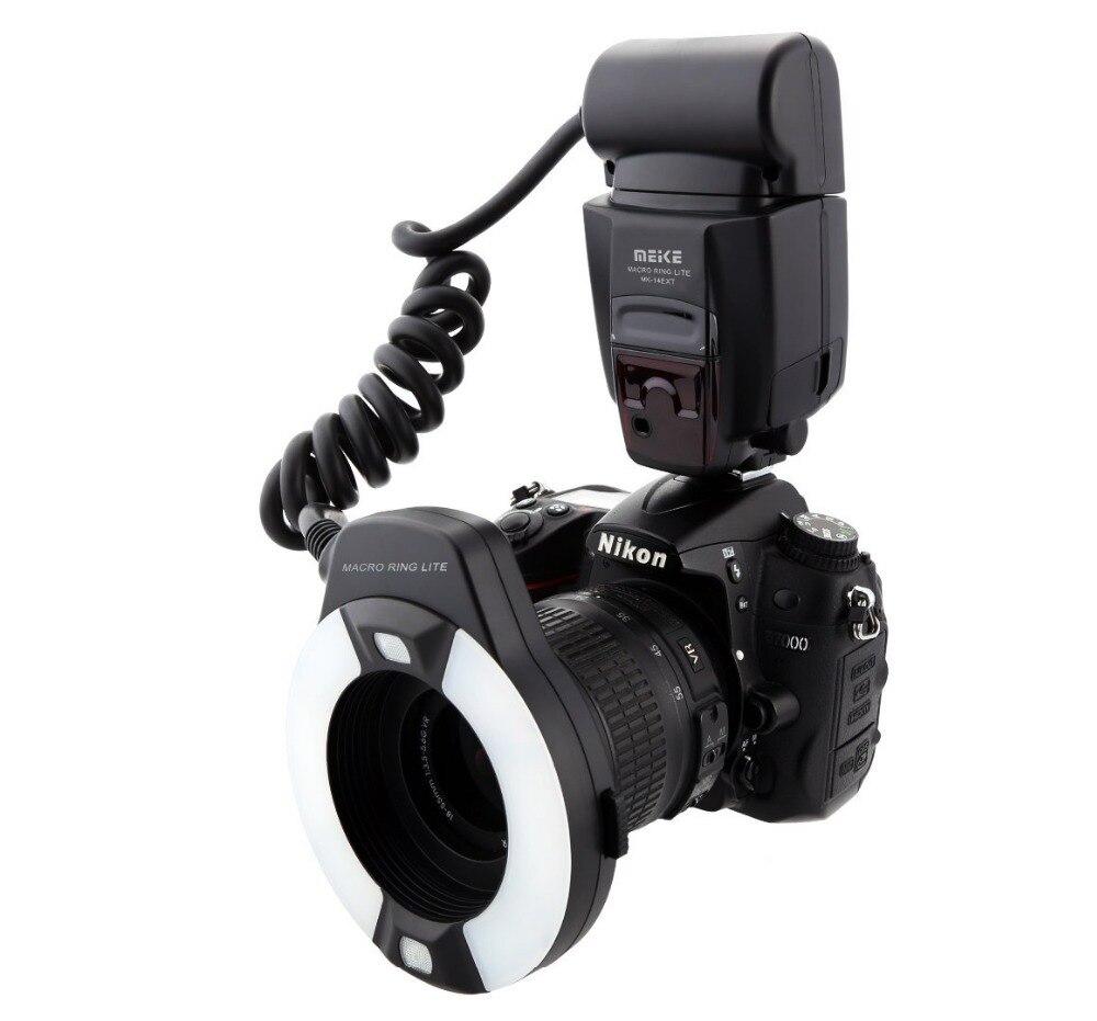 Meike MK 14EXTN Macro TTL Ring Flash voor Nikon i TTL met LED af hulplicht D7100 D7000 D5100 D5000 d750 D800 D600 D5300 D90-in Flitsen van Consumentenelektronica op  Groep 1