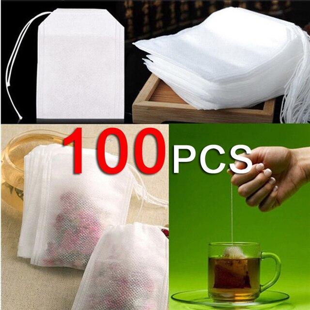 100 cái/lốc Teabags 5x7 cm Rỗng Thơm Túi Trà Với Chuỗi Chữa Lành Seal Lọc Giấy cho Herb Loose trà Bolsas de túi trà B #