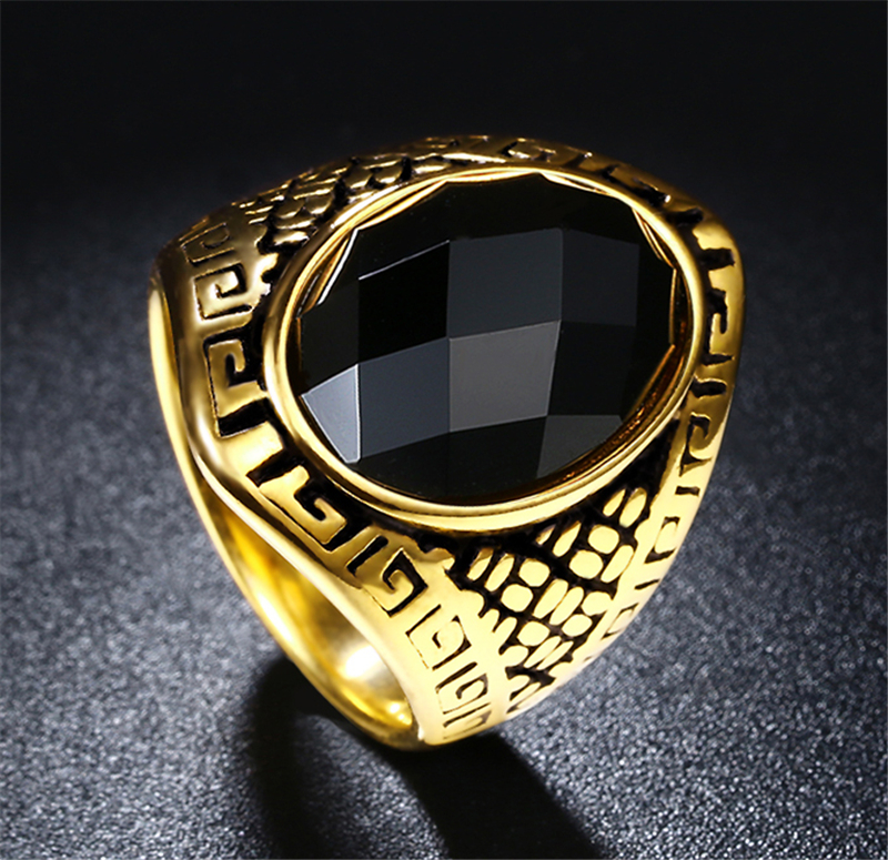 Steel Soldier Man Punk Rings Vintage 316L STAINLESS Steel Black Stone Ring  Domineering Fashion Jewelry Hot Sale Item-in Engagement Rings from Jewelry  ... cbeaa65846ca