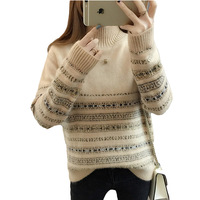 Autumn Winter Half High Collar Cashmere Sweater Warm Thickened Short Loose Sweater Personality Bottoming Knitted Sweater