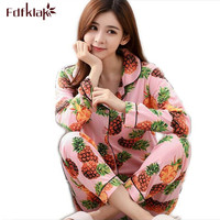 Fdfklak 2017 New Autumn Winter Clothes Women Long Sleeve Print Pajama Sets Pyjamas Girls Tracksuit Plus