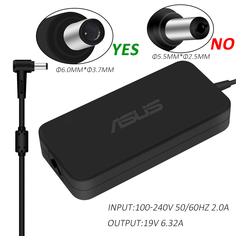 <font><b>19V</b></font> <font><b>6.32A</b></font> 120W 6.0*3.7mm AC Power <font><b>Charger</b></font> For <font><b>Asus</b></font> TUF Gaming FX705GM FX705GE FX705GD FX505 FX505GD FX505GE Laptop Adapter image