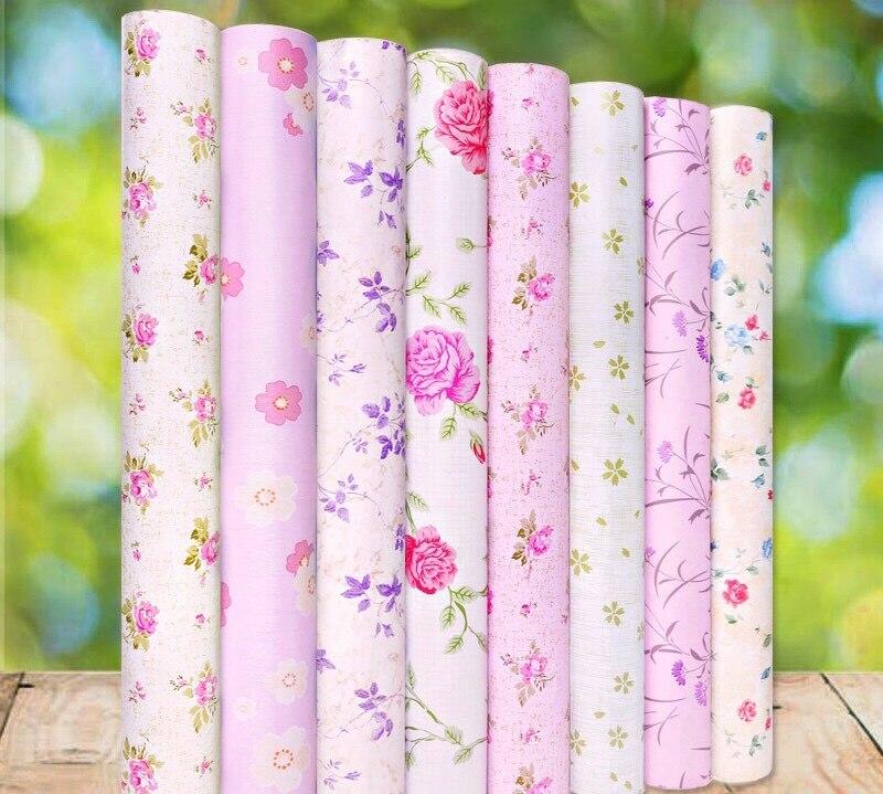 Rose fleur pvc papier peint auto-adhésif imperméable en vinyle fonds d'écran pour salon autocollants décoration de la maison 0.45 m * 10 m