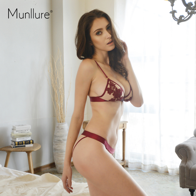 Munllure Women's autumn wireless bra sexy lace embroidery ultra-thin breathable bra plus size girls underwear set underwear set