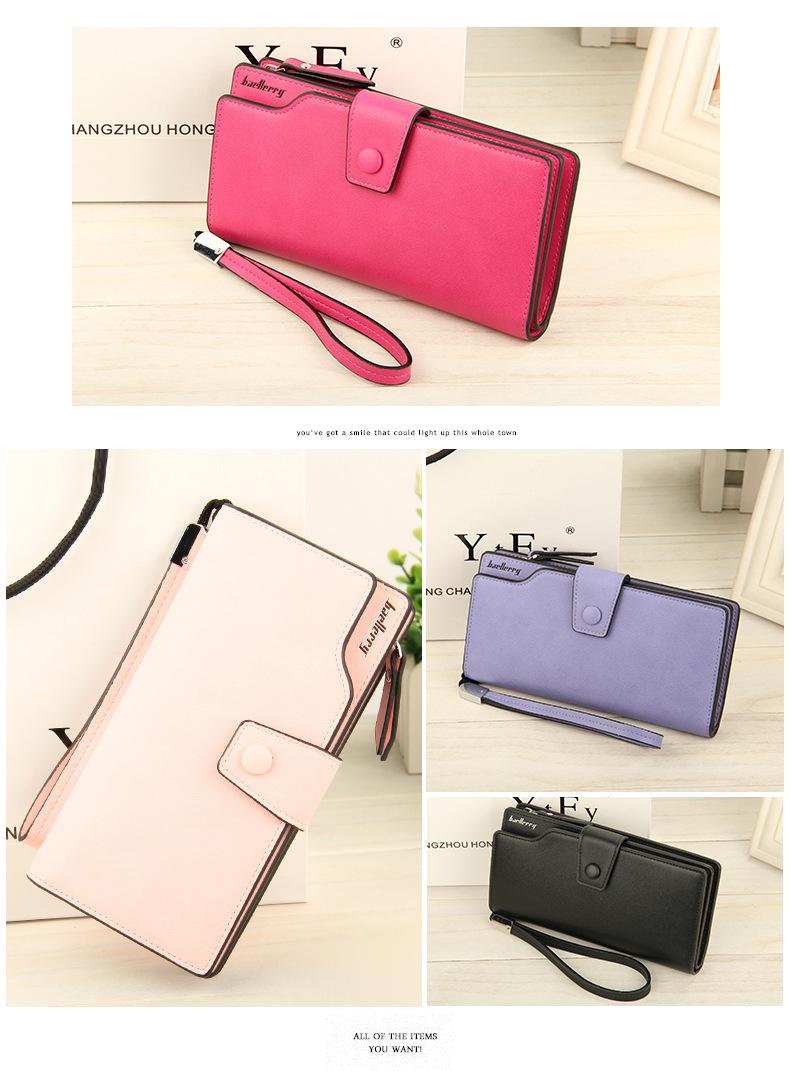 2018 New Wallet Split Leather Wallets Female Long Wallet Women Zipper Purse Money Bag pink one size 16
