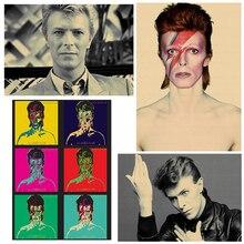 David Bowie, Banda de Música Retro Vintage rock, guitarra mate, papel Kraft, póster antiguo, pegatina de pared, decoración para el hogar