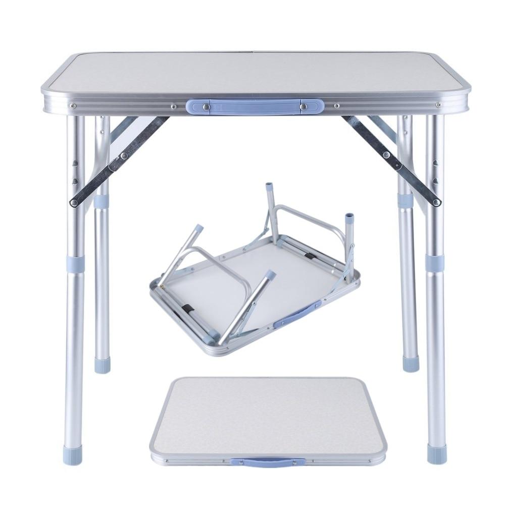 OUTAD Pieghevole portatile tavolo da picnic in alluminio Regolabile in Altezza Indoor Outdoor Del Partito Da Pranzo Tavolo Da Campeggio Con Manico