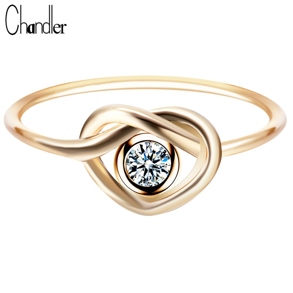 Chandler New Arrival Sliver Gold Knot Love Rings For Women CZ Heart Charms Statement Jewelry Wedding Finger Accessaries Luxury