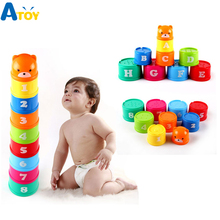Купить с кэшбэком 9Pcs/lot Nesting Stacking Cup Tower Figures Letters Educational Baby Toys Folding Children Early Intelligence Games Gift For Kid