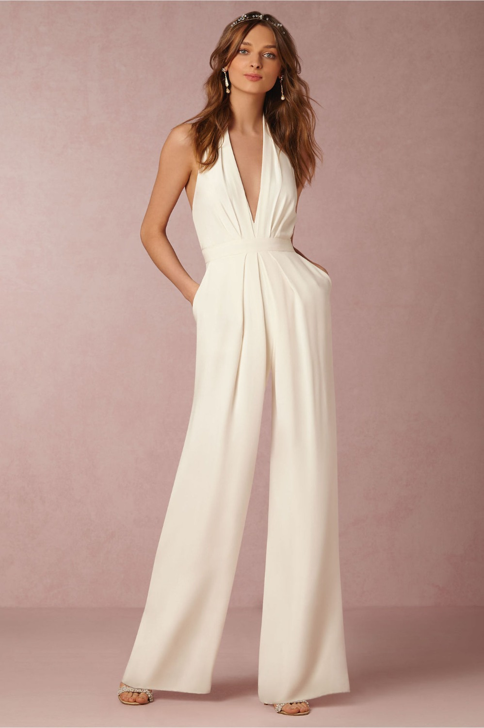2018 Summer New Office Ladies Jumpsuits Hollow out Deep V Hanging neck Sleeveless Straight Fashion Sexy 6 Colors Jumpsuits ...