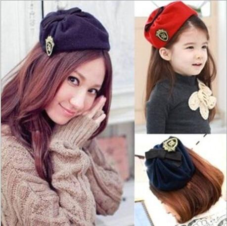 Mode imiterade flygvärdinna keps hårband för tjejer av hög kvalitet ulltyger hår adress flygbolag stewardess beret 6 färger