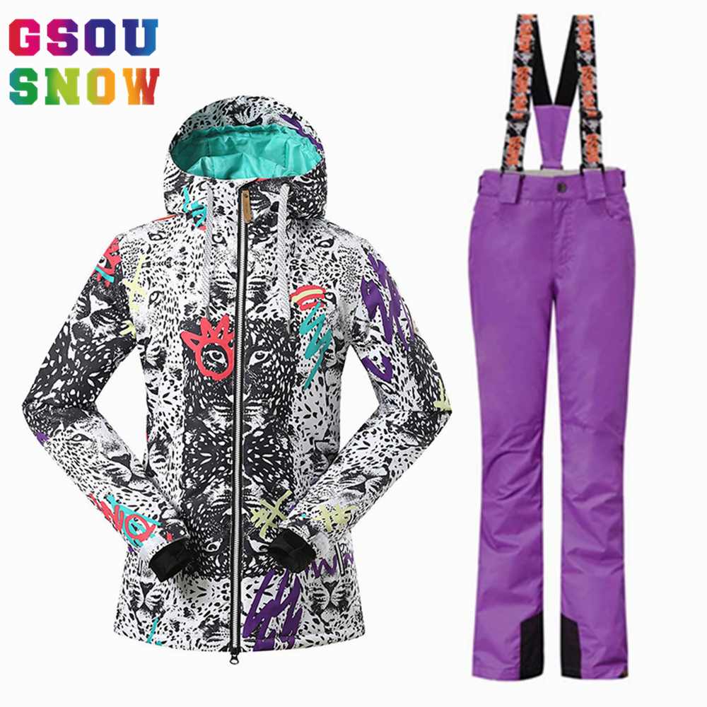 GSOU SNOW Brand Women Ski Suit Snowboard Jacket Pants Sets Winter Waterproof Skiing Suit Ladies Outdoor Sports Clothing Skiwear gsou snow ski jacket pants women ski suit waterproof snowboard jacket pants snowboard sets high quality skiing snowboarding suit