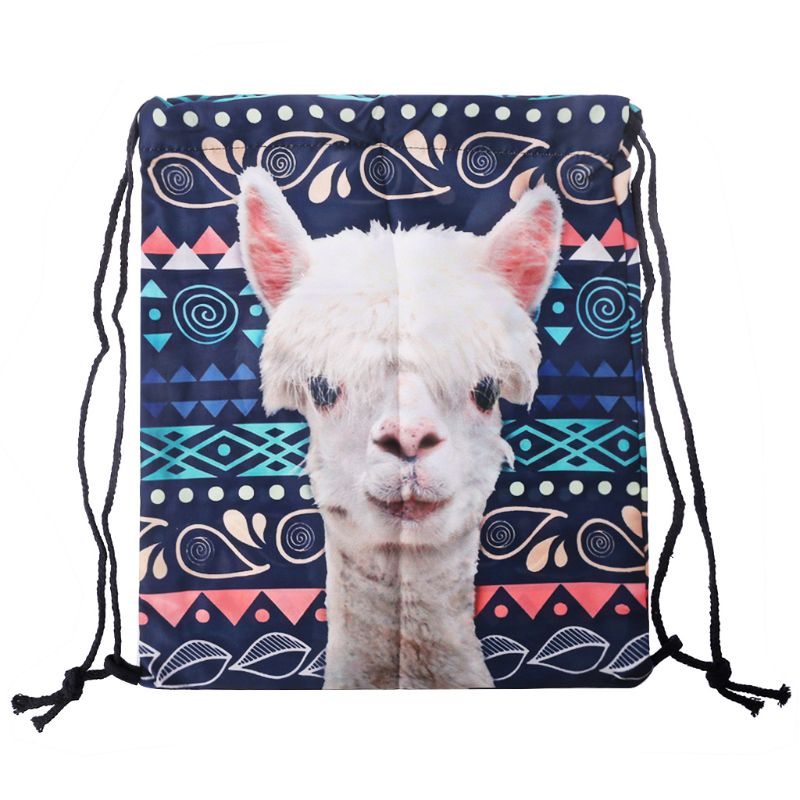 THINKTHENDO 2019 Drawstring Backpack Girls Cinch Sack 3D Printing Llama Swim Kids Shoes Party Bag Cute Gift