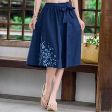 Ethnic skirt 2018 middle-aged women summer Japanese style short dark blue a-line midi skirt plus size women clothing AF600(China)