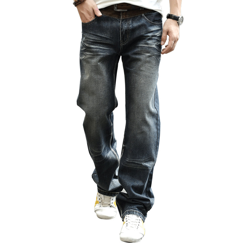 Large Sizes Baggy Loose Jean Trousers For Men Casual Style Fashion Denim Straight Jeans Mens Wide Leg Pants Big Size 28-44 women girls casual vintage wash straight leg denim overall suspender jean trousers pants dark blue