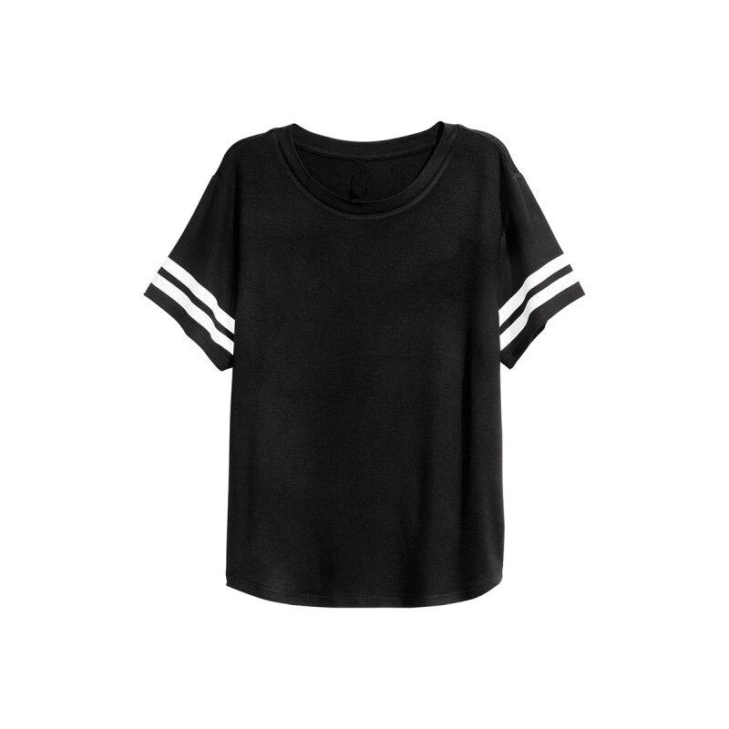 Black T Shirt Women Summer Short Sleeve Cuff With White Stripe ...