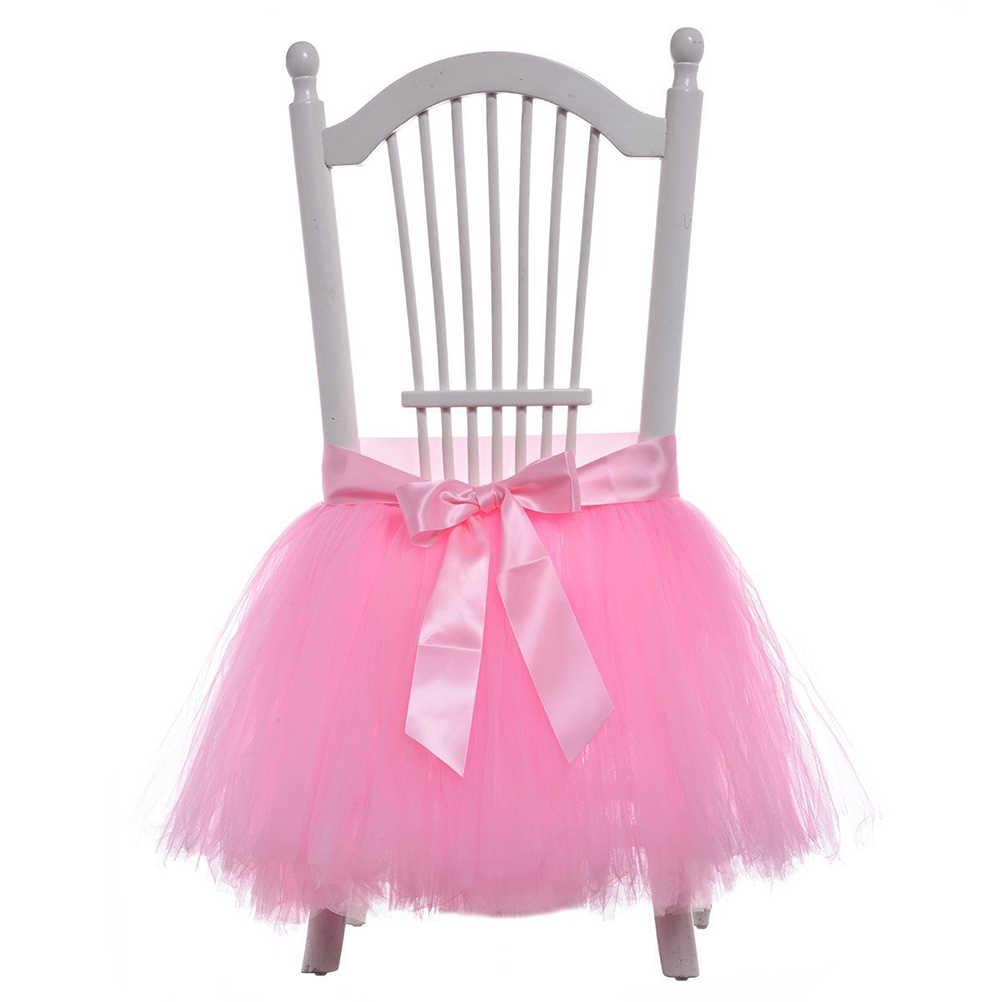 Стул юбка-пачка Фуршетные скатерти крышка Скатерти стульчик украшения для душа ребенка взрослых фестиваля рождения вечерние поставки