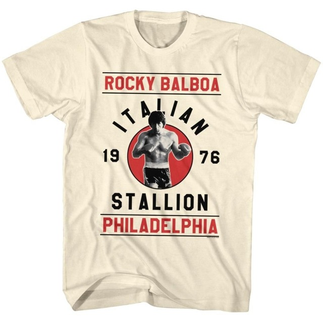 Men's Summer Fashion 100% Cotton T Shirt ROCKY BALBOA Pose T-Shirt NEW Movie Sylvester Stallone Short Sleeve Printed Shirts Tee