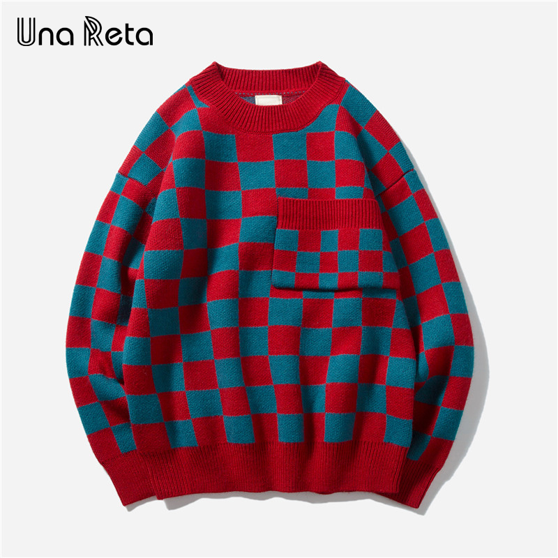 Una Reta Sweater Men New Autumn Fashion Hip Hop Plaid Knitted Sweaters Men Clothes Casual Loose Vintage Pullover Men