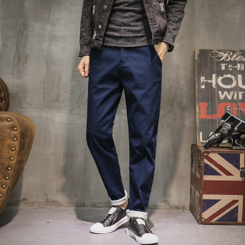 Autumn Winter Jeans Men Casual Loose Trousers Mid Stripe Thicken Fleece Pants Brand Clothing Mens Blue Green Dark Jeans A207