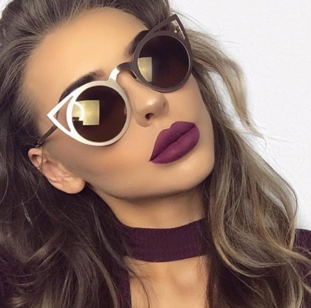 future 2017 New Women Sunglasses Vintage Cat Eye Sun glasses Metal Eyeglasses Frames Mirror reflect Shades Sexy unisex