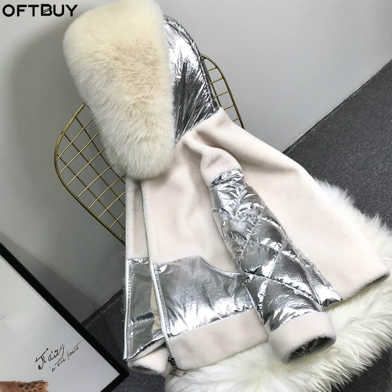 OFTBUY 2019 Real Fur Coat Winter Jacket Women Parka Natural Big Fox Fur Collar Hood Duck Down Coat Wool Outerwear Thick Warm New